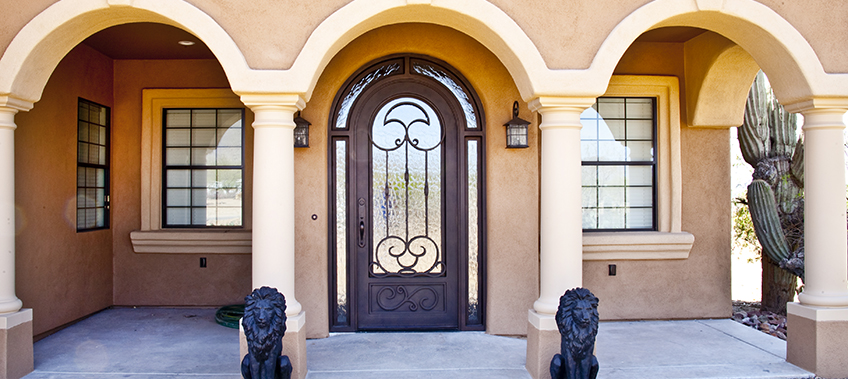 Iron Entry Door with Transom and Sidelights