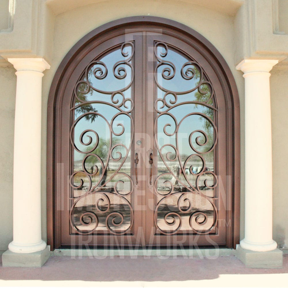 First Impression Ironworks Arched French Iron and Glass Entry Door