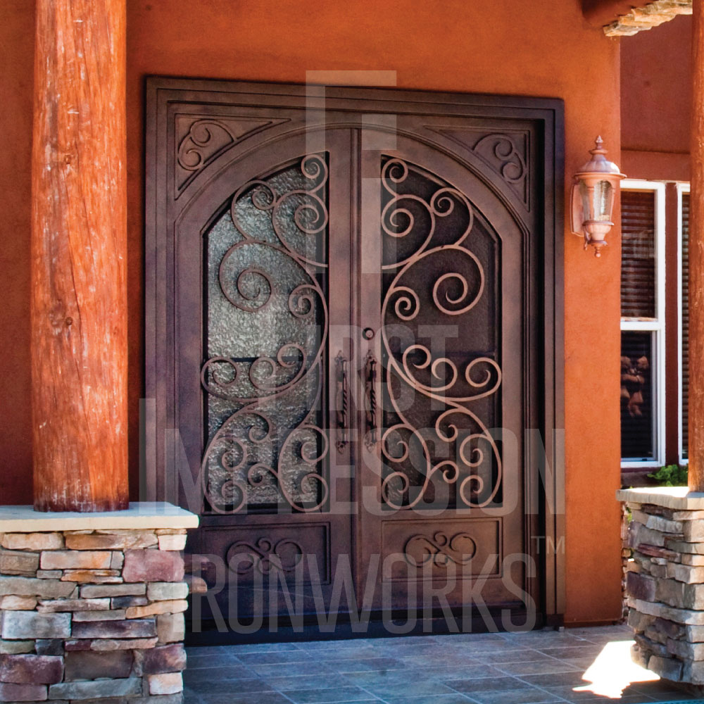 First Impression Ironworks rustic French Iron and Glass Entry Doors