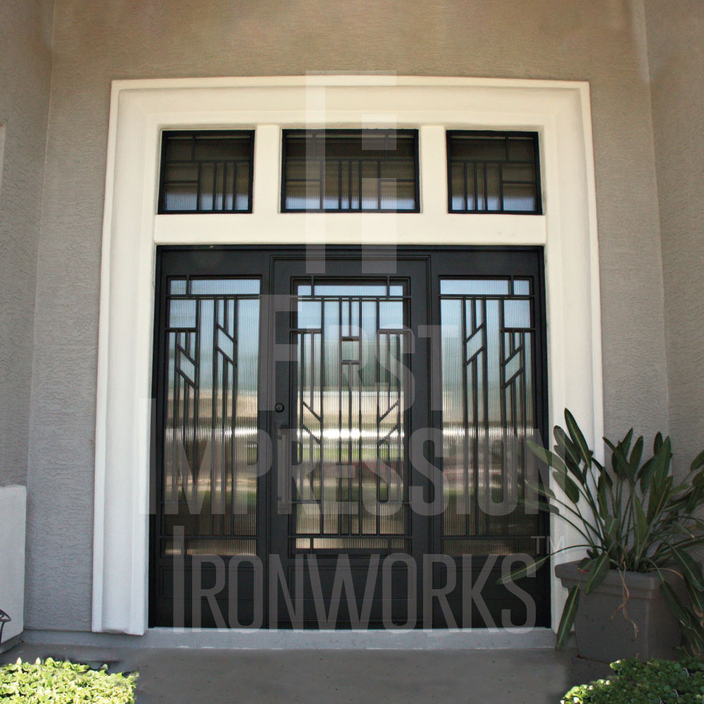 First Impression Ironworks Contemporary Iron and Glass Entry Door an Transoms