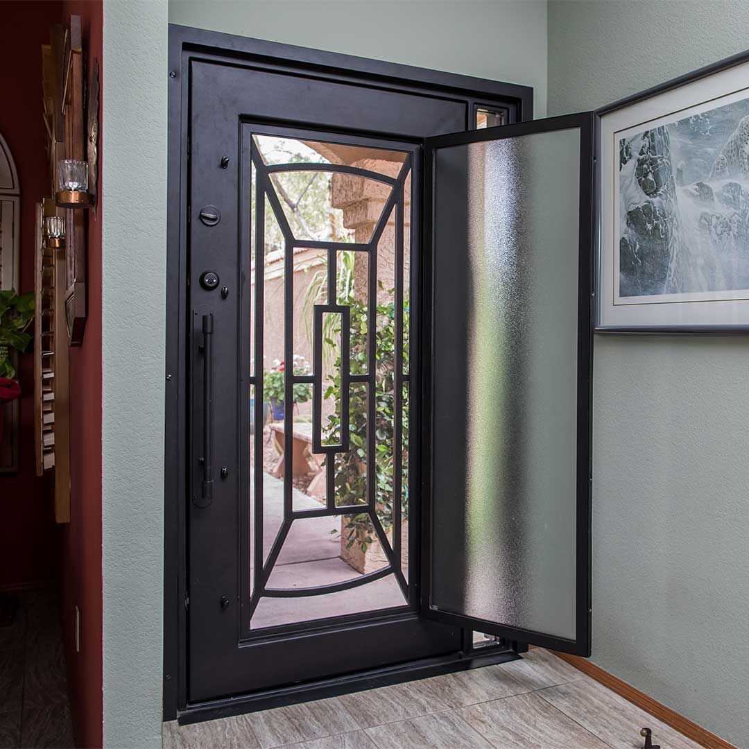 First Impression Ironworks Iron Entry Door with Glass Panel that Opens