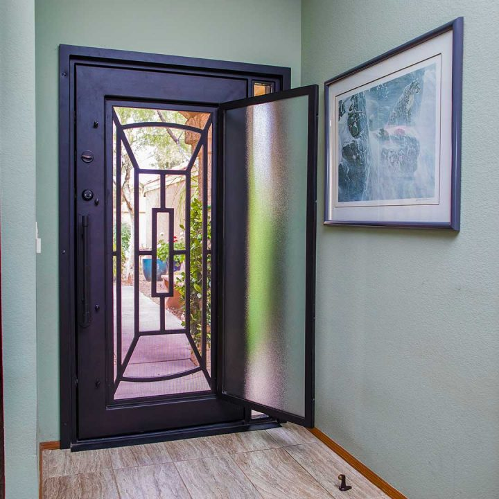 First Impression Ironworks Iron Entry Door with Open Glass Panel