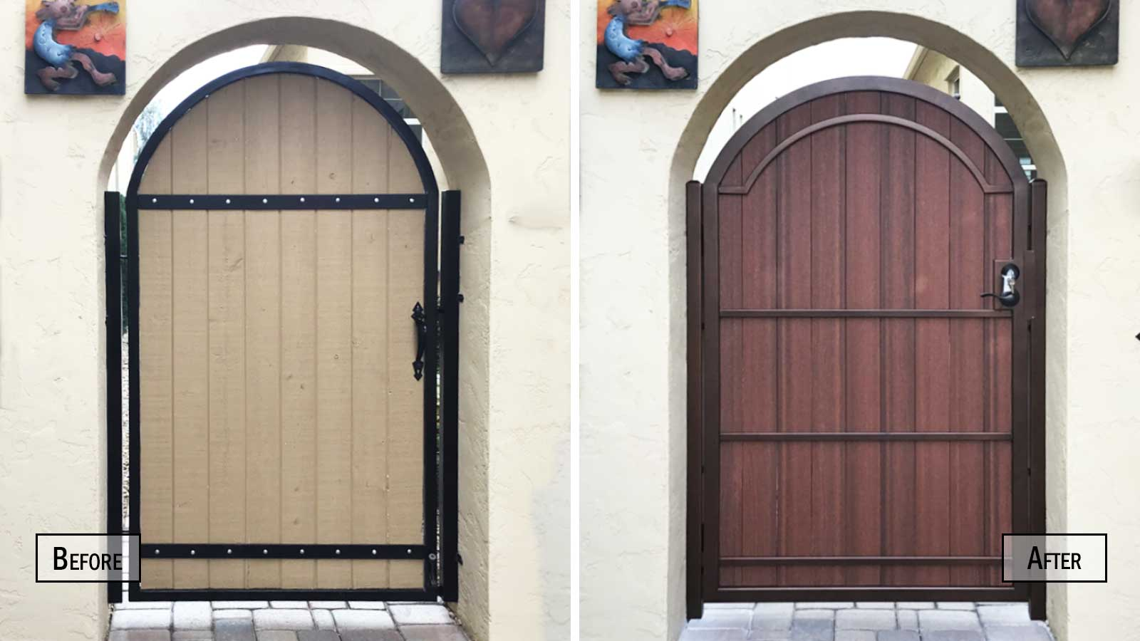Before and After Arched Composite Wood and Iron Gate