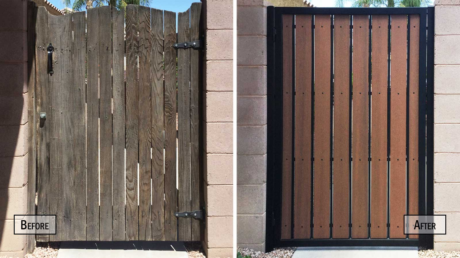Before and After Composite Wood and Iron Side Gate