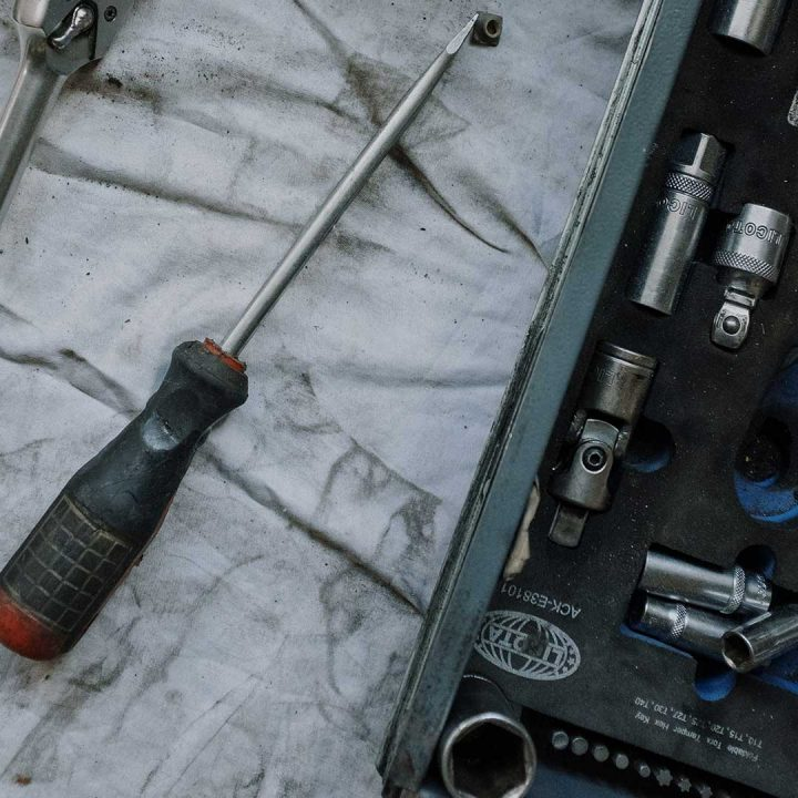 Tools laying on a tarp