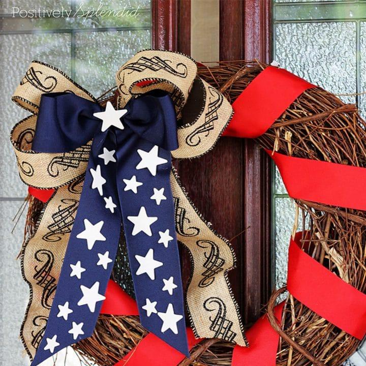 Patriotic wreath hanging on a front door