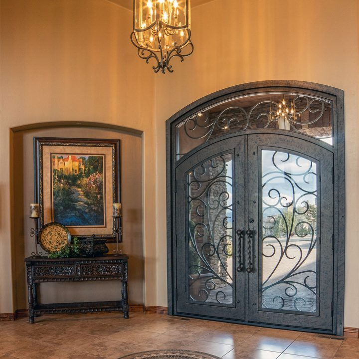 First Impression Ironworks Double Iron and Glass Entry Doors with Iron Scrollwork
