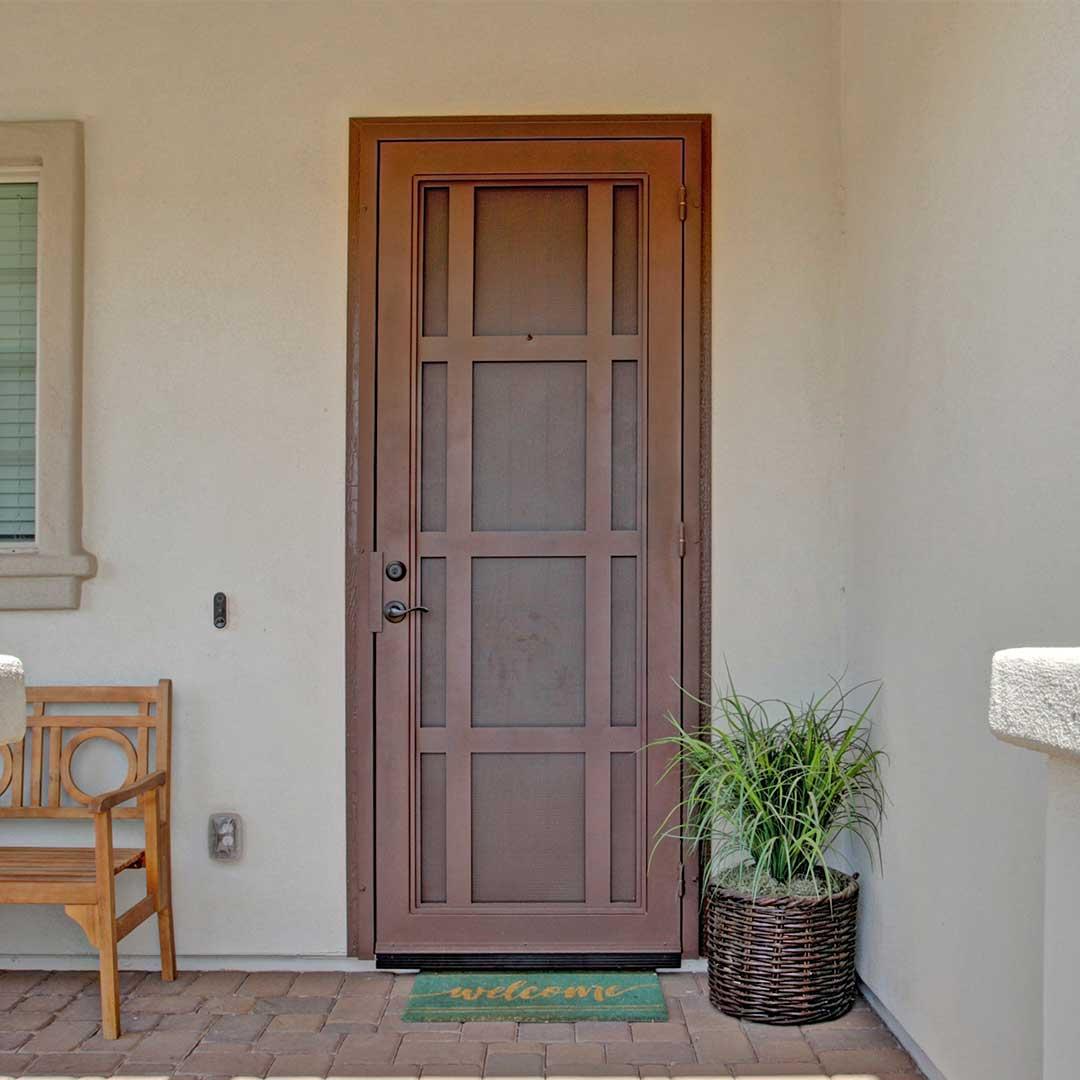 terracotta colored iron security front door