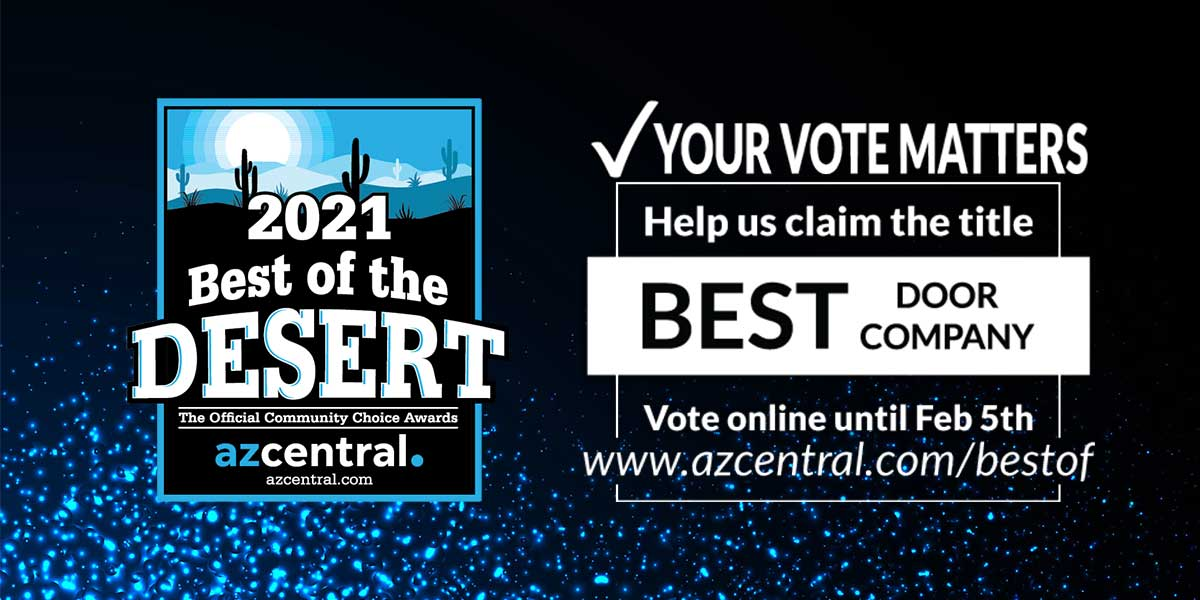 Logo for AZ Central's Best of the Desert Award with text saying to Vote for us and a link