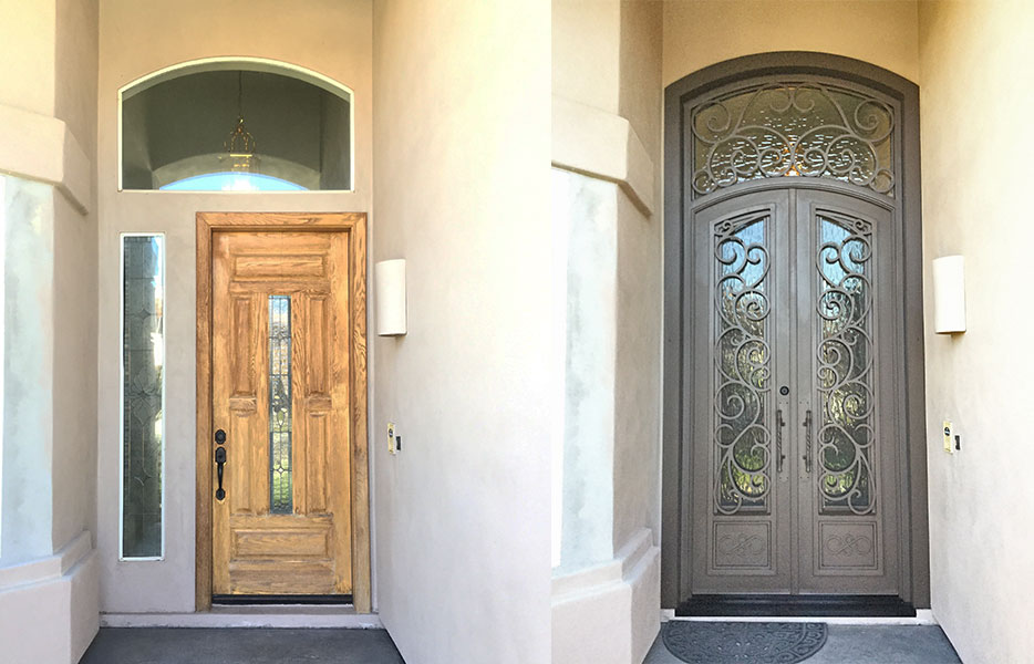 Before an after image - light wood door on the left, large, dark brown iron and glass entry door on the right