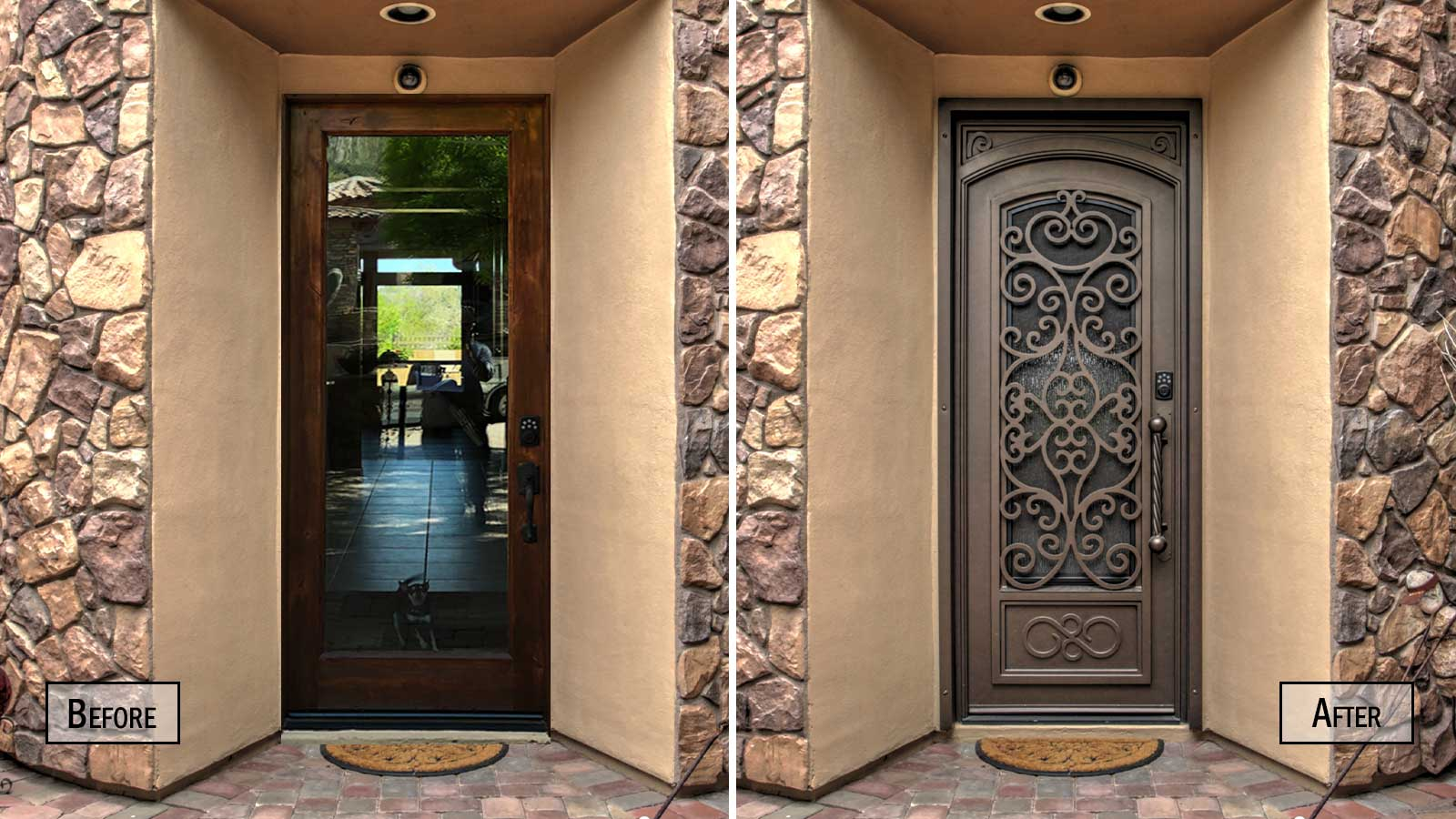 Before and after picture of a wooden door replaced with an Iron Entry Door from First Impression Ironworks